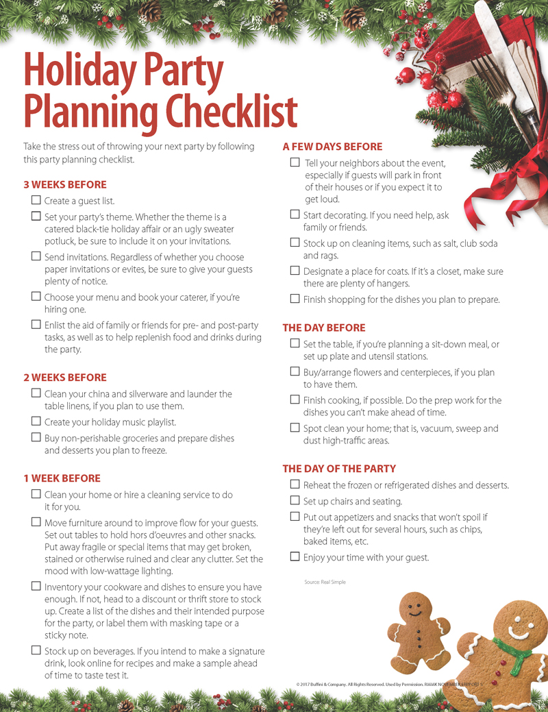 holiday party planning checklist lorelei komm associates