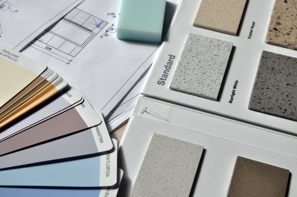 Paint and granite samples for a House flip