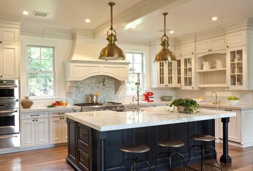 Brass fixtures in a kitchen