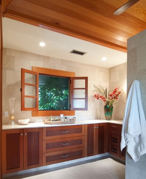 Neutral bathrooms create a spa like environment