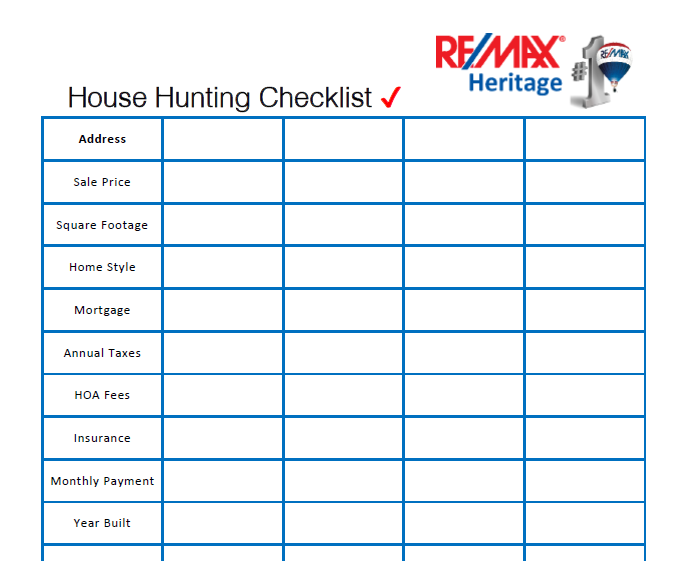 photograph regarding House Hunting Checklist Printable named Cost-free Space Searching Record Courtesy of RE/MAX Historical past
