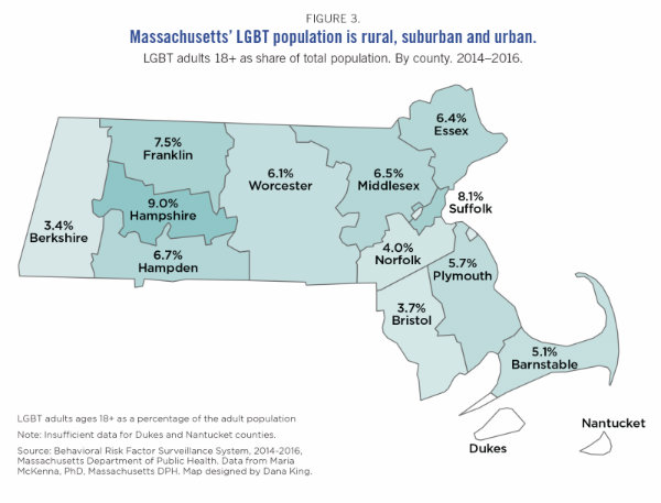 Graphic of Massachusetts LGBT Population in Urban, Suburban and Rural areas