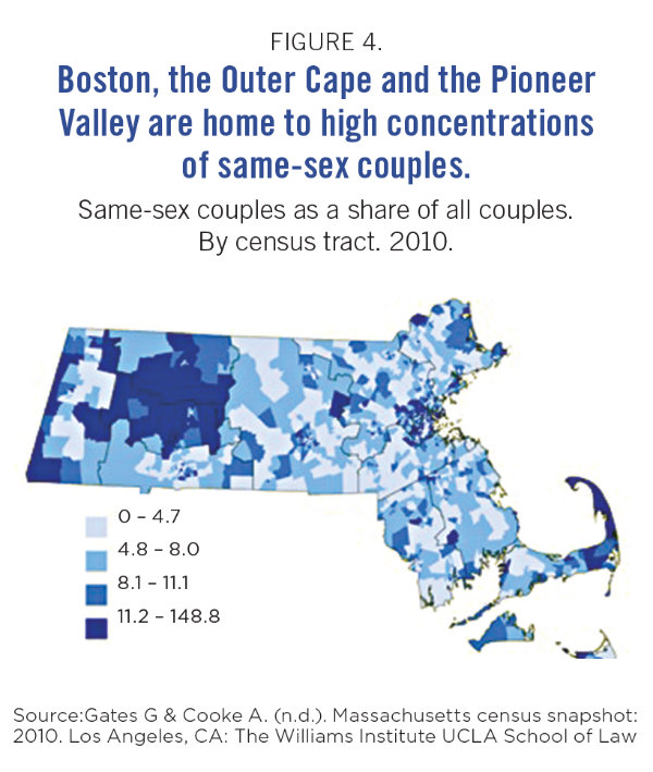 Graphic of Massachusetts LGBT residents displaying where they live