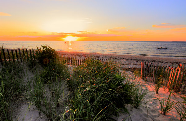 A Cape Cod beach overlooking the sunset