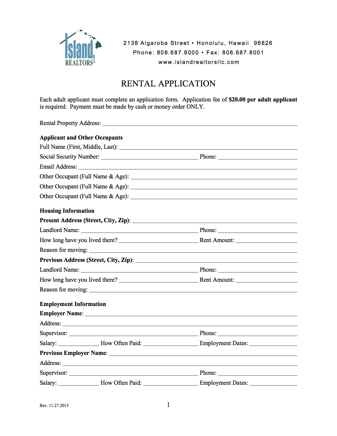 Any Missing Information Or Documentation Will Delay The Processing Of The  Application. A $20 Application Fee Is Required For Each Adult Applicant.