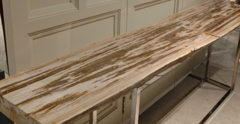 The salesman's favorite: a table made of petrified wood