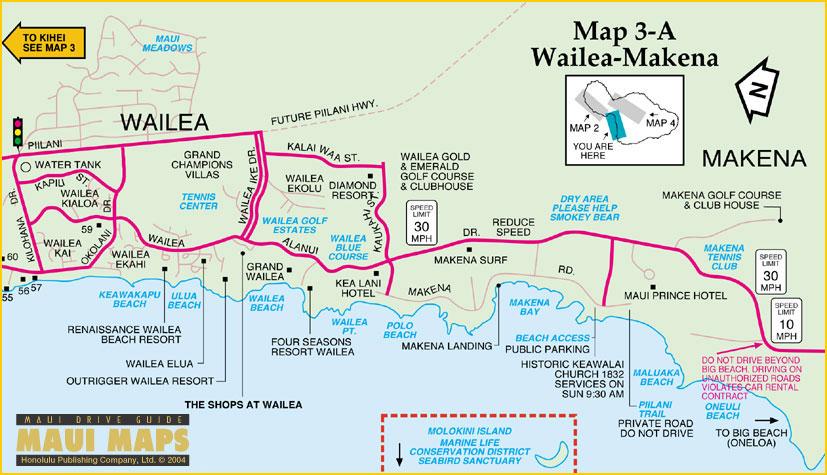Wailea Hawaii Map.Maui Map Kihei Map Wailea Map Makena Map