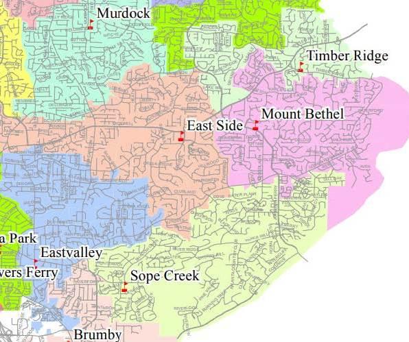 Cobb County School District Map East Cobb Walton High School Mount Bethel Elementary School Homes